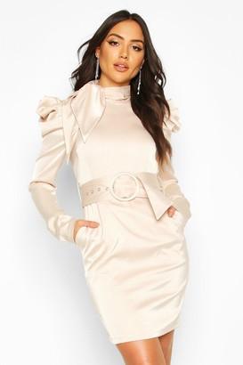 boohoo Extreme Shoulder Belted Mini Dress