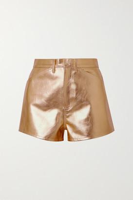 Sprwmn Metallic Leather Shorts - Gold