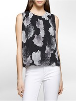 Calvin Klein Pleated Floral Sleeveless Top