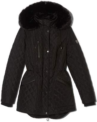 Quilted Faux Fur-trimmed Hood Parka