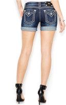 "Miss Me Cuffed 6"" Studded Shorts, Dark Wash"