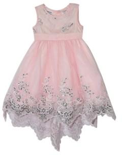 Blueberi Boulevard Little Girls Scalloped Embroidery Dress