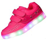 Topteck 7 Colors Toddler Little Kid Boy Girl LED Light Up Sneakers Lumious PU Leather Sport Casual Shoes Student Dance Boot