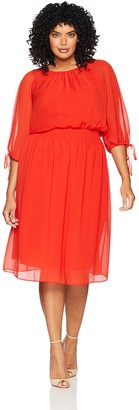 Maggy London Plus Size Women's Gauze Chiffon Smocked Waist Dress