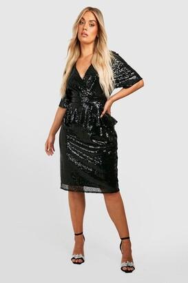 boohoo Plus Sequin Peplum Wrap Midi Dress