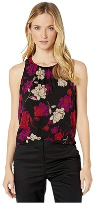 Vince Camuto Sleeveless Enchanted Floral Chiffon Blouse (Tulip Red) Women's Blouse