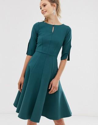 Closet London Closet fit and flare dress-Green