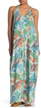 Love Stitch V-Neck Racerback Leaf Print Maxi Dress