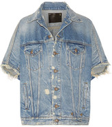 R 13 Distressed Denim Vest - Mid denim