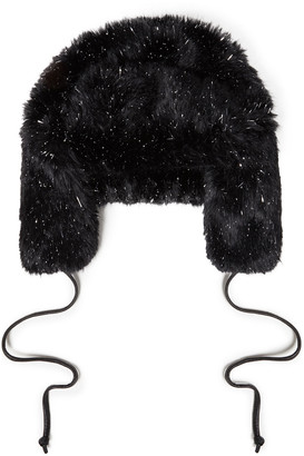 Eugenia Kim Owen Leather-trimmed Tinsel And Faux Fur Hat