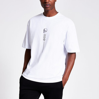 River Island White printed boxy fit T-shirt