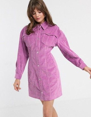 ASOS bold shoulder cord shirt dress