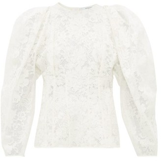 Givenchy Puff Sleeve Cotton Blend Chantilly Lace Top - Womens - White