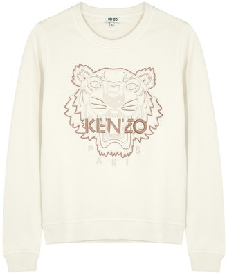 Kenzo Ecru tiger-embroidered cotton sweatshirt