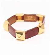 Hermes Leather & Gold Tone Metal Medor Bracelet Bangle