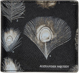 Alexander McQueen Black and Off-white Peacock Feather Wallet