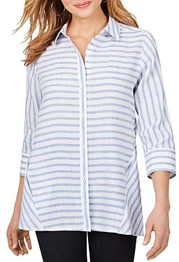 Foxcroft Carlene Striped Easy Care Linen Shirt