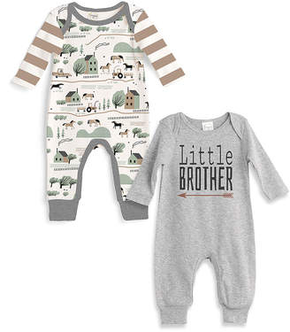 Tesa Babe Boys' Rompers Grey/Brown/Ivory - Heather Gray 'Little Brother' Romper & Horse on the Farm Romper - Newborn & Infant