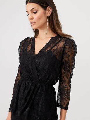 Very Lace V-Neck Puff Sleeve Top - Black