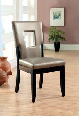 Hokku Designs Vanderbilte Open Back Side Chair in Silver/Black