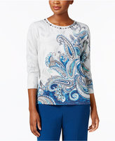 Alfred Dunner Arizona Sky Embellished Metallic Sweater