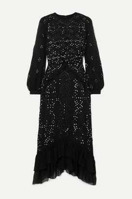 Saloni + Venyx Isa Embellished Broderie Anglaise Silk-georgette Midi Dress - Black