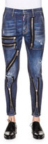 DSQUARED2 Zipper-Trim Slim-Fit Denim Jeans, Blue