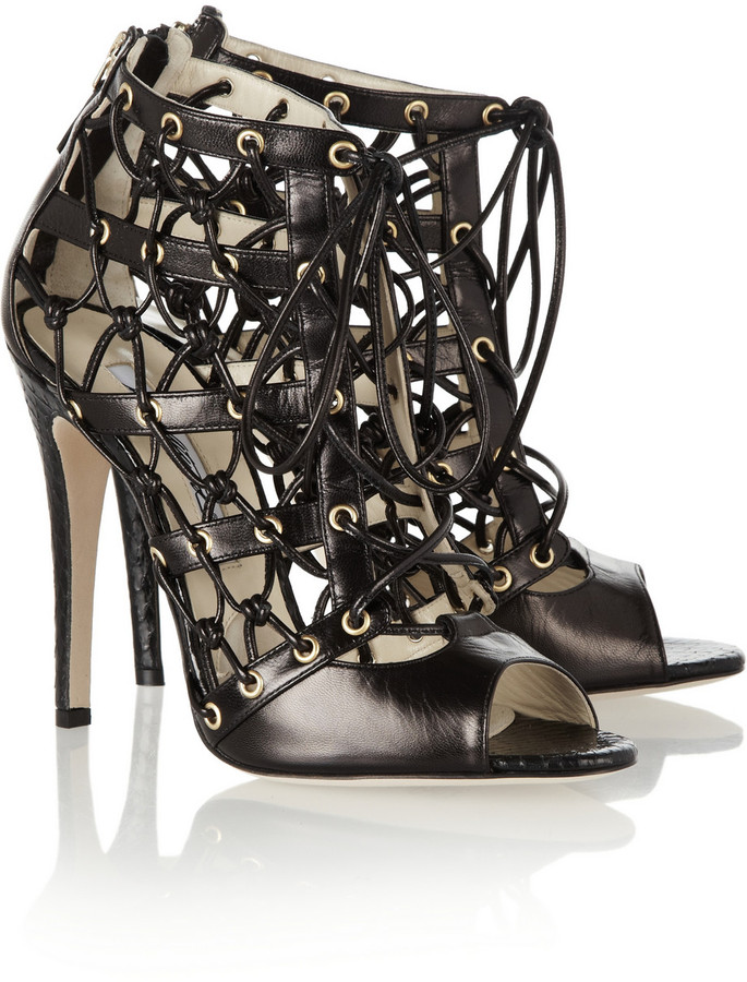Brian Atwood Leather and elaphe cutout ankle boots