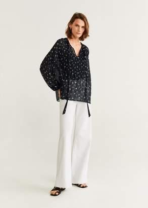 MANGO Sheer flower blouse