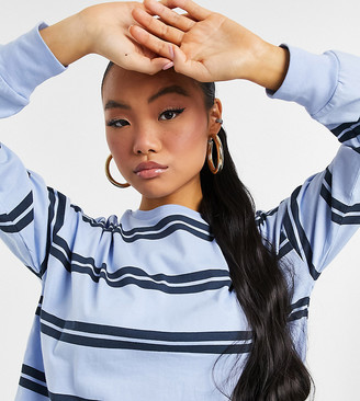 ASOS DESIGN Petite long sleeve t-shirt with cuff and double stripe in blue
