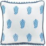 Goldlight Square Tasseled Blue Paisley Pillow