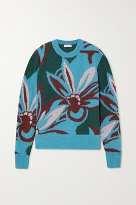 Dries Van Noten Intarsia Alpaca-blend Sweater - Blue