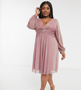 Chi Chi London Plus long sleeve high low dress in mink