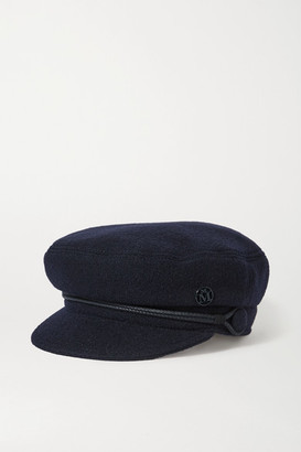 Maison Michel New Abby Embellished Wool Cap - Navy