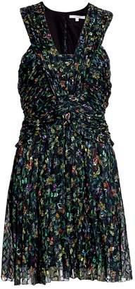 Derek Lam 10 Crosby Floral Ruched Silk-Blend A-Line Dress