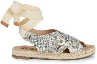 Sam Edelman Alisha Snakeskin-Embossed Leather Tie-Ankle Espadrilles
