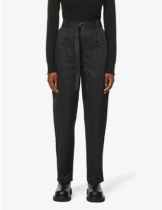 Gestuz Aster belted straight-leg high-rise woven trousers
