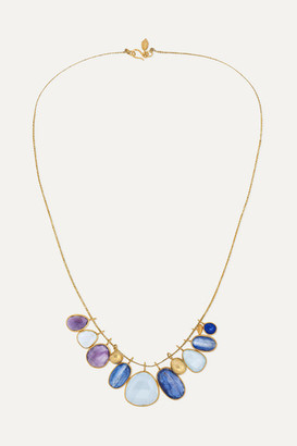 Pippa Small Pacific Blues 18-karat Gold, Cord And Multi-stone Necklace