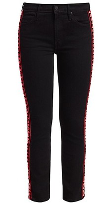Mother The Dazzler Mid-Rise Slim-Fit Straight-Leg Embroidered-Side Jeans