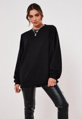 Missguided Black Puff Sleeve Sweatshirt