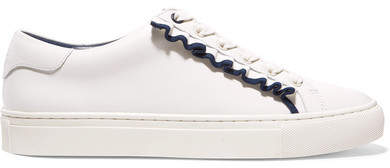 Tory Sport Ruffled Leather Sneakers - White