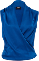 Paule Ka Sleeveless Crepe Blouse with Side Zip