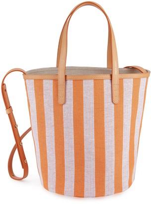 Mansur Gavriel Canvas Mini Circle Bucket Bag - Orange/White