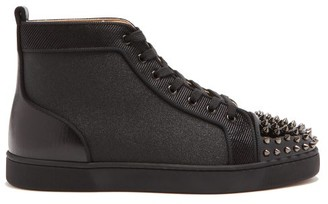 Christian Louboutin Lou Spikes Glitter High-top Trainers - Black