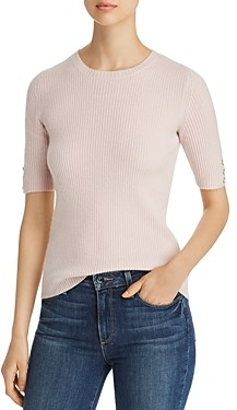 Bloomingdale's C by Button Detail Rib-Knit Cashmere Sweater - 100% Exclusive