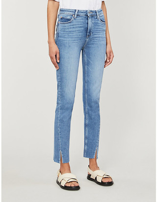 Paige Summer Ladies Blue Leather Hoxton Slim-Fit Tapered Mid-Rise Jeans, Size: 23
