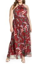 ELOQUII Floral Halter Neck Georgette Maxi Dress