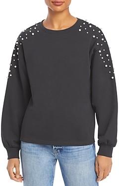 Lucy Paris Faux Pearl Embellished Sweatshirt