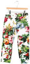 Dolce & Gabbana Girls' Floral Print Straight-Leg Pants