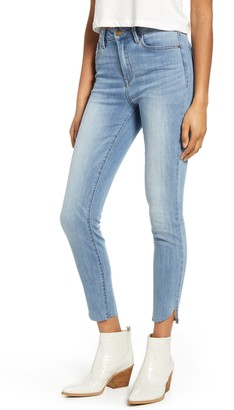 Prosperity Denim High Waist Raw Envelope Hem Skinny Jeans